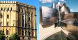 A sinistra Palazzo dei Normanni, sede dell'Ars, a Palermo; a destra il museo Guggenheim di Bilbao