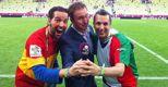 Nella foto Sergio Labruna (a destra) prima della sfida tra Italia e Spagna della fase eliminatoria