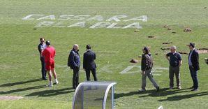 Vandalismo allo stadio di Varese (Fotogramma)