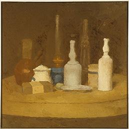 Giorgio Morandi (Bologna, 1890 – 1964). Natura morta 1923 – 1924. Olio su tela. Collezioni civiche - Dono Alberto Della Ragione