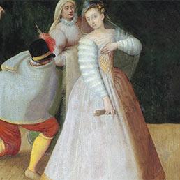 La compagnia dei Comici Gelosi in un dipinto di scuola fiamminga, 1580 circa. (Scala Archives)