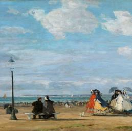 The Beach at Trouville; the Empress Eugenie. Boudin, Eugène Louis (1824 - 1898; French)