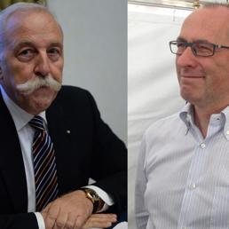 Nella combo, a sinistra Diego Mosna, a destra Ugo Rossi, i due pi� accreditati degli 11 candidati presidente per la Provincia autonoma di Trento (Ansa)