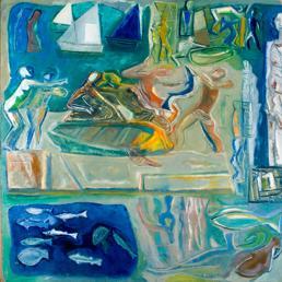 Mario Sironi -La Grande Composizione (Figurazioni allusive alla vita sul mare), 1948, olio su tela, cm 264x351.stima euro 220.000-280.000. Lotto 48- asta 62 - Collezione d'arte Tirrenia. (BLINDARTE)