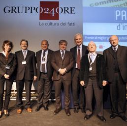 Nella foto di gruppo dei vincitori del Premio Parola d'Impresa 2013 da sinistra: Silvia Bergamaschi, Giampaolo Sperotto , Fausto Aquino , Pietro di Leo , Lorenzo Sassoli de Bianchi , Natale Santoni e Vincenzo Boccia (Ipp)