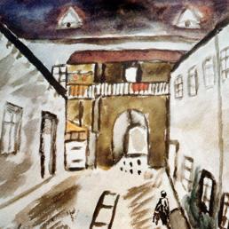 Disegno di un bambino ebreo cecoslovacco rinchiuso nel ghetto di Terezìn, a 60 chilometri da Praga, e morto ad Auschwitz nel 1944