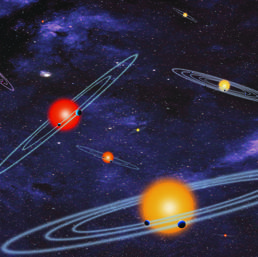 Un'illustrazione dei sistemi planetari che sono stati scoperti in stelle vicino al Sole