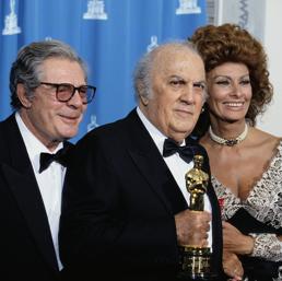 Marcello Mastroianni, Federico Fellini e Sophia Loren (Corbis)