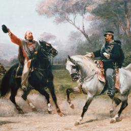 L'incontro tra Giuseppe Garibaldi e il Re Vittorio Emanuele II a Teano. (Corbis)