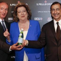 Il presidente di Expo 2015 s.p.a., Diana Bracco, il presidente e amministratore delegato del Gruppo Sanpellegrino, Stefano Agostini (Ansa)