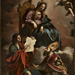 """L'olio su tela del Guercino """"Madonna coi santi Giovanni Evangelista e Gregorio Taumaturgo' (Ansa)"""