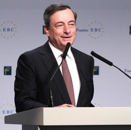 L'intervento di Mario Draghi al congresso di Francoforte (Afp)