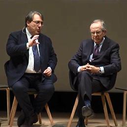 Il ministro dell'Economia, Pier Carlo Padoan intervistato dal direttore del Sole 24 Ore, Roberto Napoletano