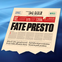 Sergio Marchionne ha mostrato la prima pagina del Sole 24 Ore del 10 novembre scorso parlando alla comunità finanziaria americana