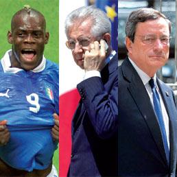 Mario Balotelli, Mario Monti, Mario Draghi (Afp, Ansa, Reuters)