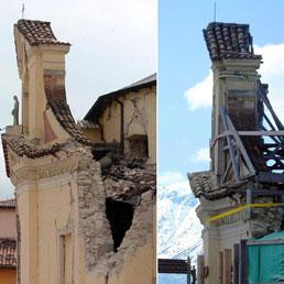 La chiesa di Paganica (L'Aquila) gravemente lesionata in una immagine del 12 aprile 2009 (sinistra) e la situazione di oggi 2 aprile 2011 (destra) - Ansa