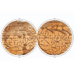 Una ricostruzione delle mappe di Marte tracciate da Schiaparelli