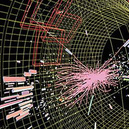 Nella foto una collisione fra protoni all'Lhc di Ginevra, che potrebbe contenere una particella di Higgs. Questa collisione è stata registrata il 25 maggio 2011