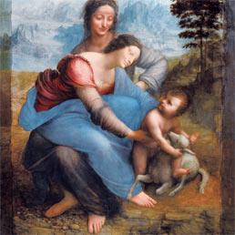 """Leonardo da Vincio, """"Madonna con bambino, San'Anna e l'agnello"""""""