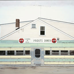 John Baeder, Prout's Diner, 1974, Oil on canvas, 76 x 122cm. Morris Museum of Art, August, Georgia - Image © John Baeder - Photo © Institut institut für kulturaustausch, Tübingen