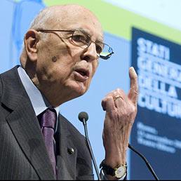 Il presidente della Repubblica Giorgio Napolitano agli Stati generali della cultura organizzati dal Sole 24 Ore (Ansa)