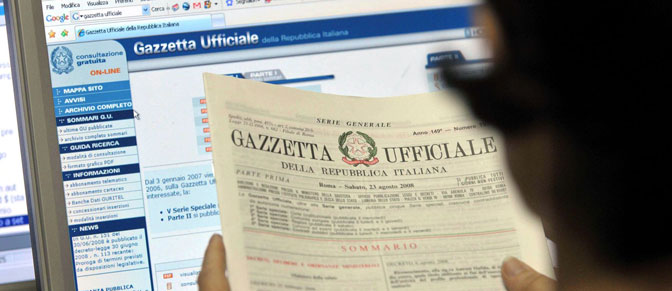 La manovra di Natale pubblicata in «Gazzetta»