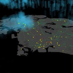 In tempo reale. L'esperimento di Live Singapore del SENSEable Lab per verificare l'efficienza del servizio di taxi nella città-stato in collegamento con le condizioni atmosferiche