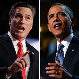 Nella foto lo sfidante repubblicano nella corsa alla presidenza degli Stati Uniti, Mitt Romney, e il presidente Barack Obama