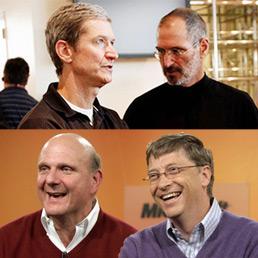 Tim Cook con Steve Jobs e Steven Ballmer con Bill Gates