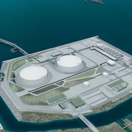 Una veduta del progetto del rigassificatore elaborato da Brindisi Lng (gruppo British Gas)