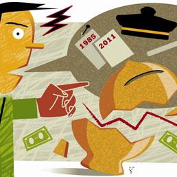 Riavere i soldi da crack e tribunali (disegno di Sandra Franchino)
