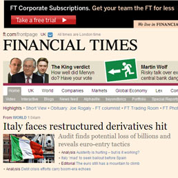 Ft: l'Italia rischia 8 miliardi di perdite su derivati della fine degli anni '90
