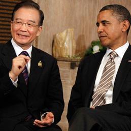Il premier cinese, Wen Jiabao con Barack Obama (Ap)