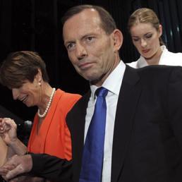 Tony Abbott, candidato della Coalizione, durante la campagna elettorale (Ap)
