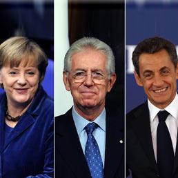 Angela Merkel, Mario Monti e Nicolas Sarkozy (Epa)