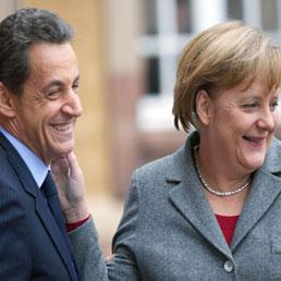 Nicolas Sarkozy e Angela Merkel (Olycom)