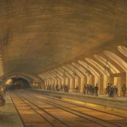 Litografia della stazione Baker Street della metropolitana di Londra