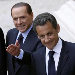 Silvio Berlusconi e il presidente francese Nicolas Sarkozy a Villa Madama, Roma (Ansa)