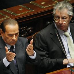 Silvio Berlusconi e Umberto Bossi (Ansa)
