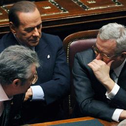 Umberto Bossi, Silvio Berlusconi e Giulio Tremonti (Ansa)
