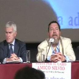 Giuliano Ferrara al cinema Capranica con Maurizio Belpietro