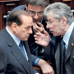 Berlusconi e Bossi in Parlamento