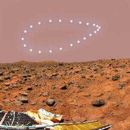 Un'immagine curiosa, l'analemma, ovvero la sequenze della posizione del sole all'orizzonte alla stessa ora nei vari giorni dell'anno, ma su Marte