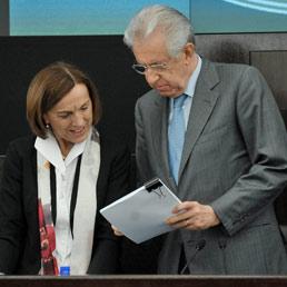 Elsa Fornero con Mario Monti (ImagoEconomica)