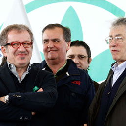 Roberto Maroni, Roberto Calderoli e Umberto Bossi (Lapresse)