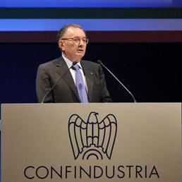 L'intervento di Giorgio Squinzi all'assemblea di Confindustria (Lapresse)