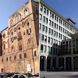 Nella foto palazzo d'Orleans a Palermo e palazzo Rava ad Aosta