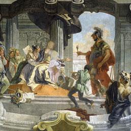 """Un particolare dell'opera del Tiepolo """"La generosità di Scipione"""""""