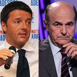 Nel montaggio fotografico, il sindaco di Firenze, Matteo Renzi (a sinistra) e il leader del Pd, Pierluigi Bersani
