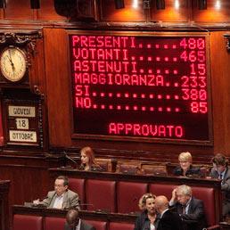Il tabellone elettronico della Camera con il risultato del voto di fiducia posta dal governo sul decreto Sanità. (Ansa)